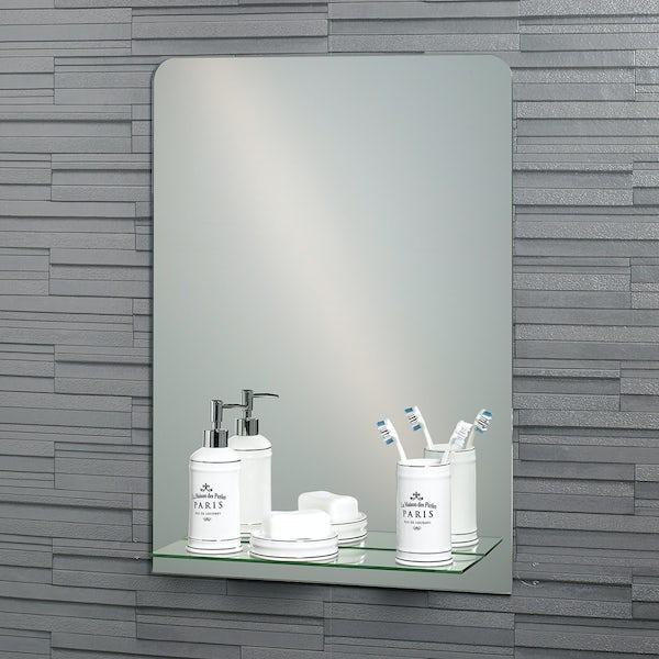 Showerdrape Rochester rectangular mirror with vanity shelf