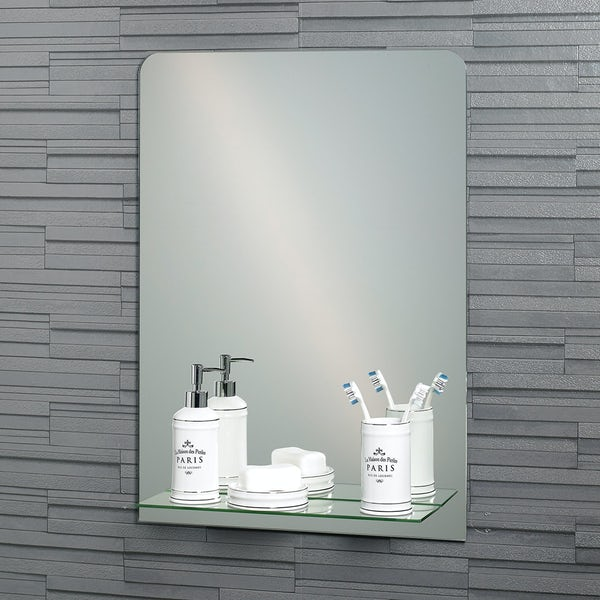 Showerdrape Rochester rectangular mirror with vanity shelf