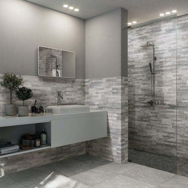Bolsena grey split face stone effect matt wall tile 150mm x 610mm