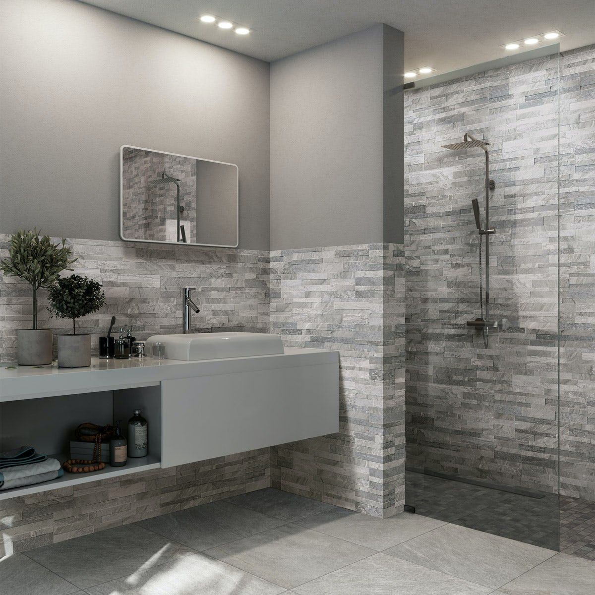 Bolsena Grey Split Face Stone Effect Matt Wall Tile 150mm