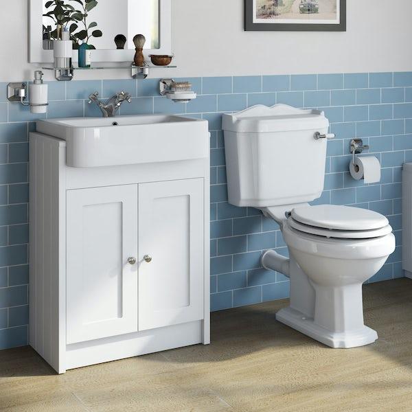 The Bath Co. Dulwich matt white floorstanding vanity unit 600mm and close coupled toilet suite