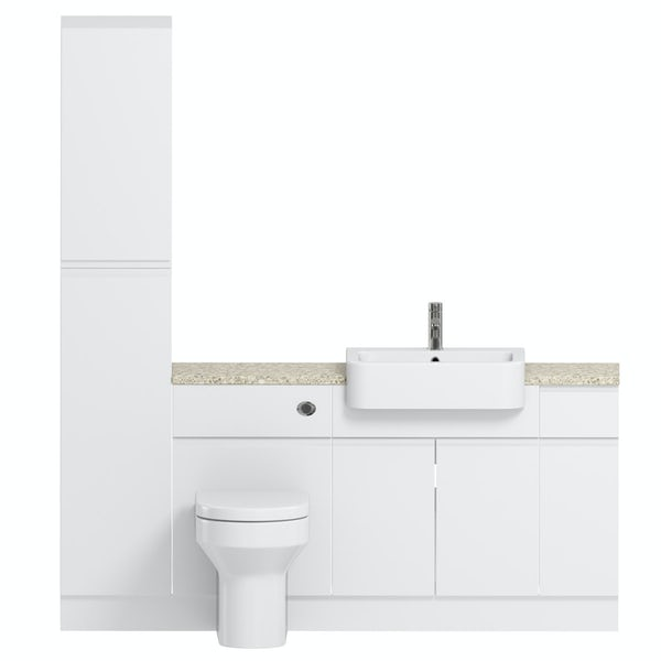 Reeves Wharfe white straight small storage fitted furniture pack with beige worktop