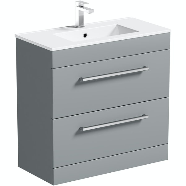 Orchard Derwent stone grey vanity drawer unit and basin 800mm