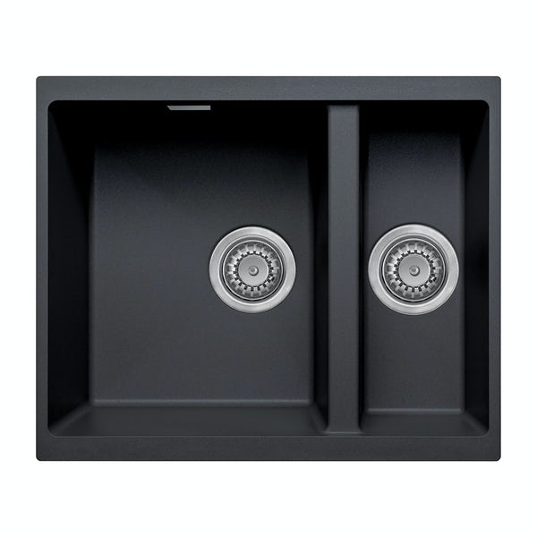 Schon Windermere universal undermount 1.5 deep bowl black granite kitchen sink with waste