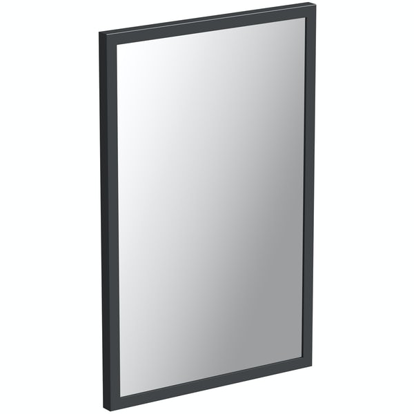 Mode Hale grey gloss bathroom mirror 850 x 550mm