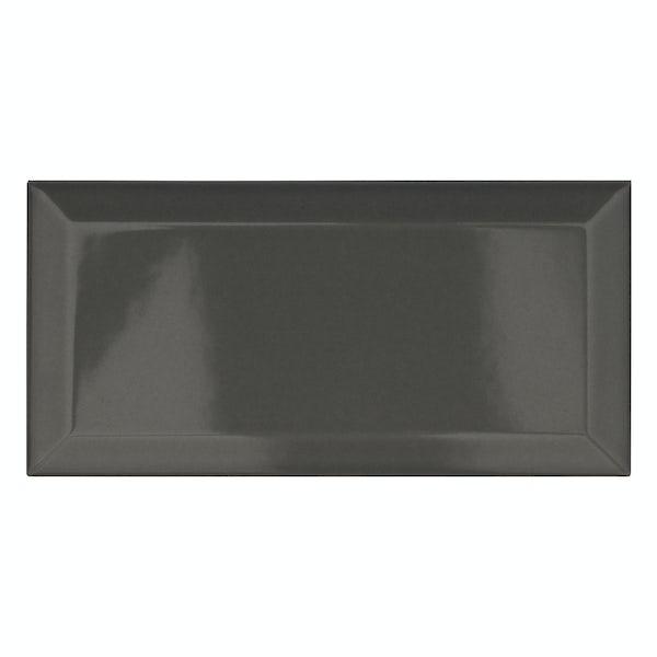 Metro dark grey bevelled gloss wall tile 100mm x 200mm