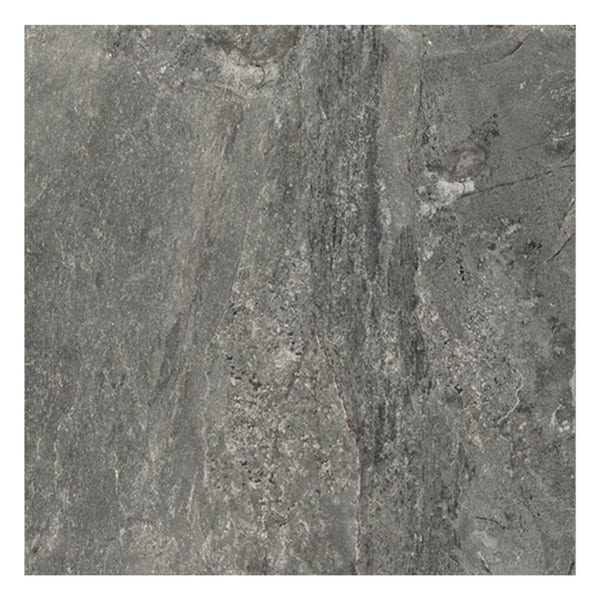 Ontario anthracite stone effect matt wall and floor tile 615mm x 615mm