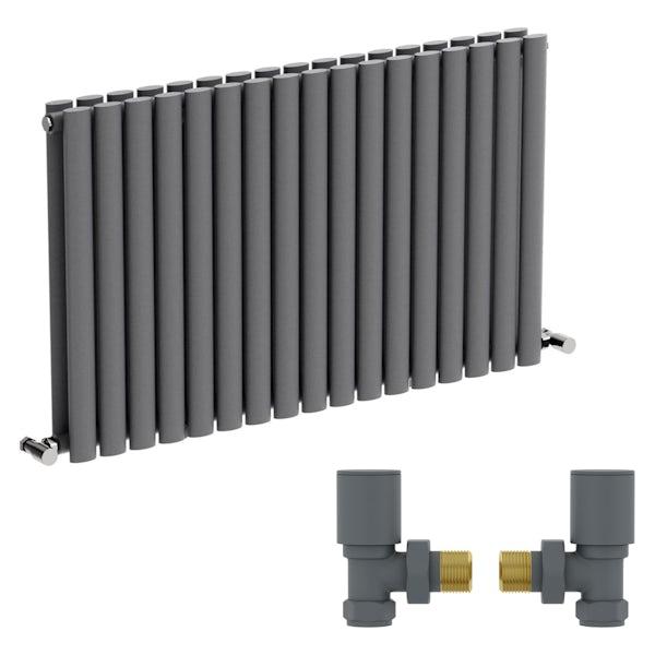 Mode Tate anthracite grey double horizontal radiator 600 x 1000 with angled valves