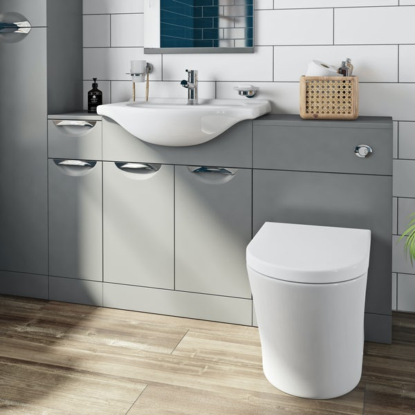 Orchard Elsdon stone grey 1155mm combination with contemporary back to wall toilet and seat