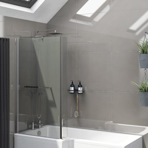 Cadiz mid grey flat gloss wall and floor tile 600mm x 600mm
