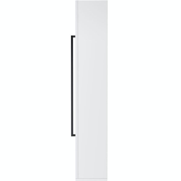 Orchard Derwent white tall wall hung cabinet with black handle 1400 x 350mm