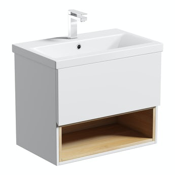 Mode Tate white & oak wall hung vanity unit and ceramic basin 600mm