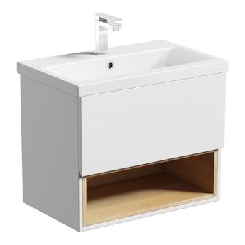 Mode Tate white & oak wall hung vanity unit and ceramic basin 600mm