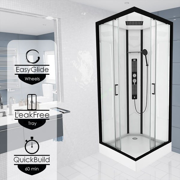 Insignia Monochrome black framed square shower cabin 900 x 900