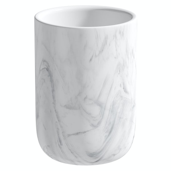 Accents Waikiki marble effect ceramic 3 piece bathroom set with soap dish