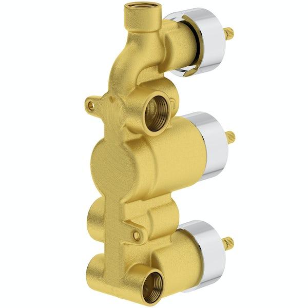 Mode Ellis square triple thermostatic shower valve with diverter