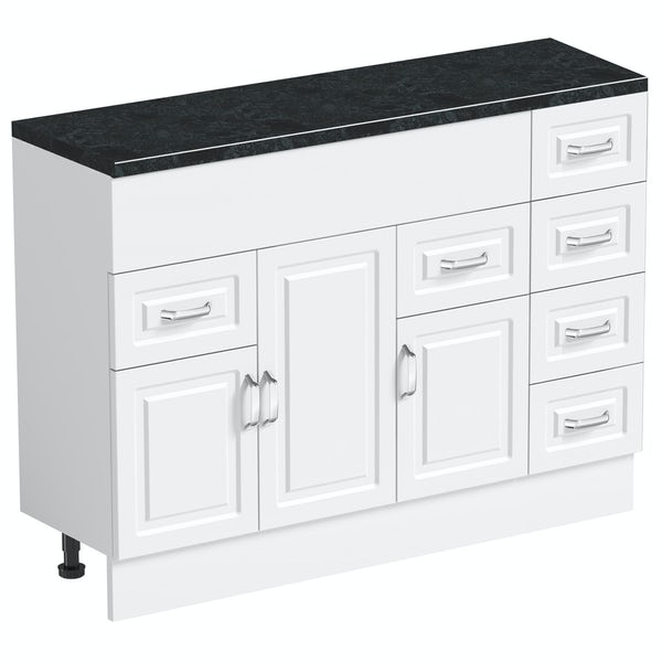 Orchard Florence white 850mm, multi drawer unit & plinth with black top