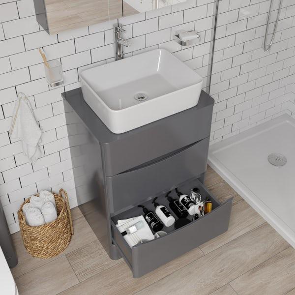Mode Adler grey 600mm floorstanding vanity unit and countertop