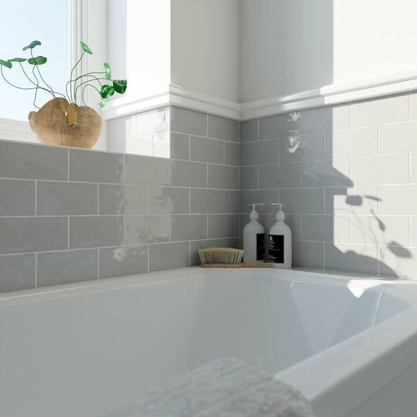 Laura Ashley Artisan french grey wall tile 75mm x 150mm