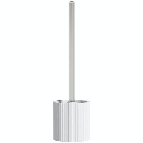 Accents white and chrome toilet brush holder