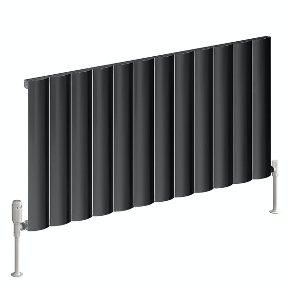 Reina Belva anthracite grey single horizontal aluminium designer radiator