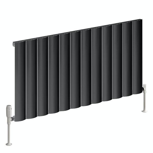 Reina Belva anthracite grey single horizontal aluminium designer radiator