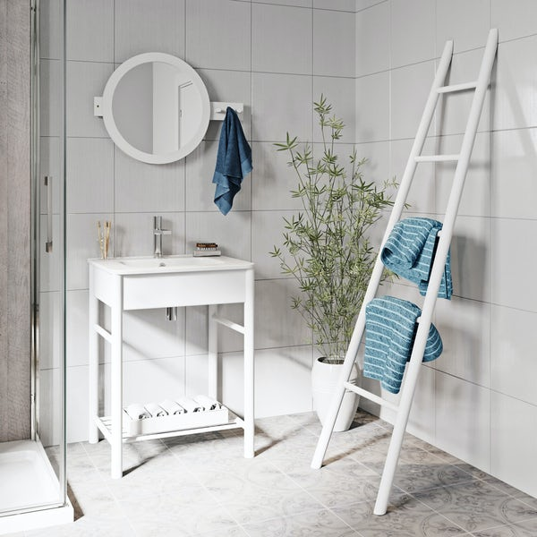Mode South Bank white furniture package with towel ladder
