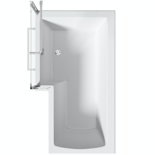 Orchard L shaped left handed shower bath with 6mm shower screen and rail