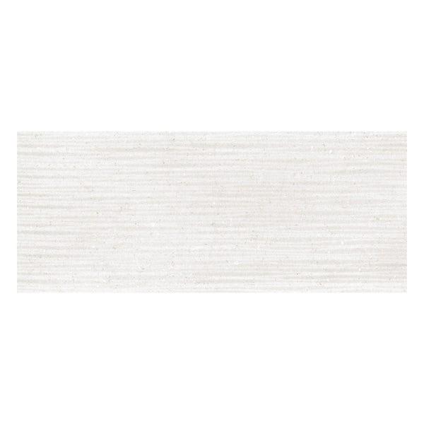Rocha white textured stone effect gloss wall tile 250mm x 600mm