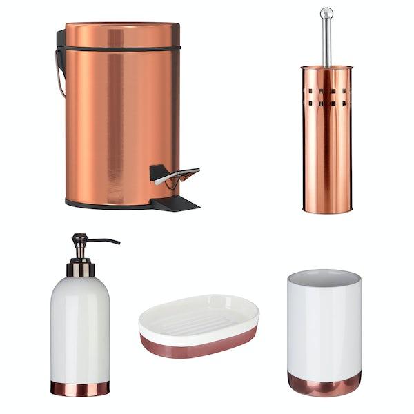 Accents Delta 5 piece white and copper bathroom accessory set