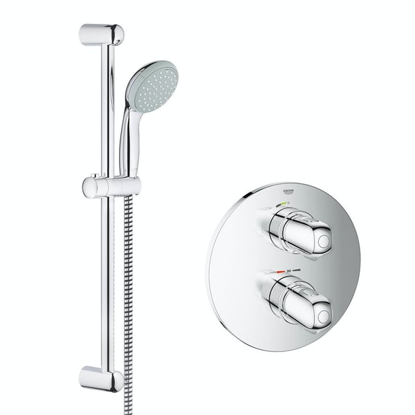 Grohe Grohtherm 1000 concealed thermostatic shower set with slider rail kit