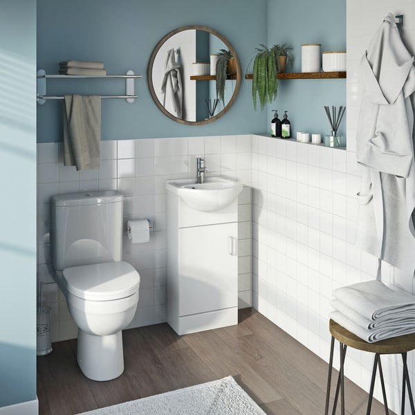 Eden white cloakroom unit with Energy close coupled toilet
