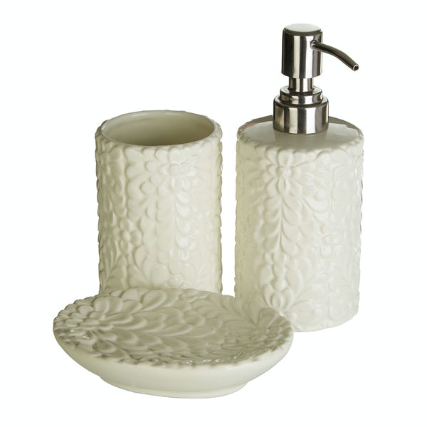 Magnolia floral 3pc bathroom accessory set