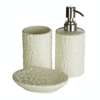Accents Magnolia floral 3pc bathroom accessory set