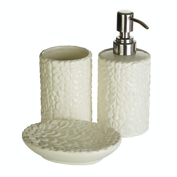 Magnolia floral 3pc bathroom accessory set