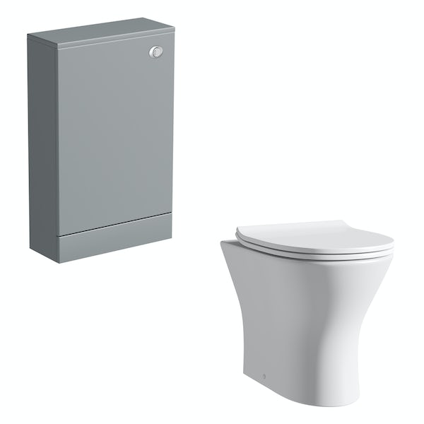 Orchard Derwent stone grey back to wall unit and round compact toilet with soft close slim seat