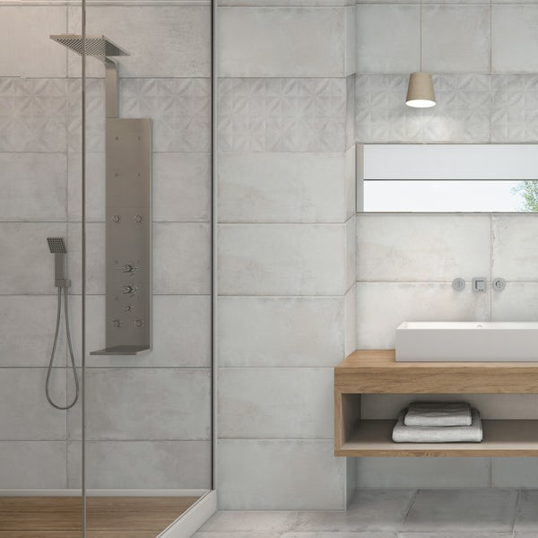 Geneva grey stone effect textured leaves wall tile 250mm x 600mm