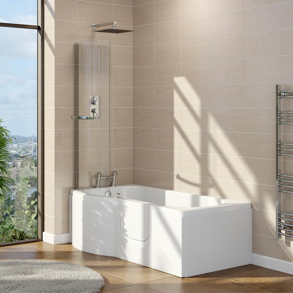 Orchard walk in P shaped shower bath with easy access right handed door and screen 1675 x 850