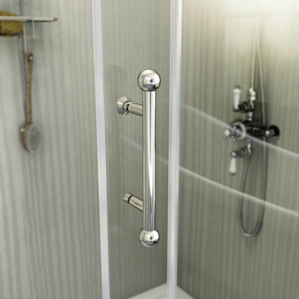 The Bath Co. Winchester traditional 6mm rectangular sliding shower enclosure