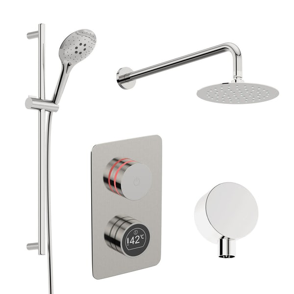 Mode Touch digital thermostatic shower set with round wall arm and slider kit