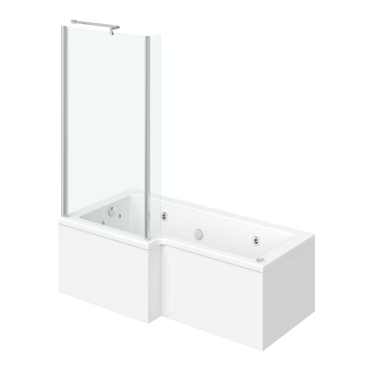 L shaped left handed 12 jet whirlpool shower bath with front panel and screen