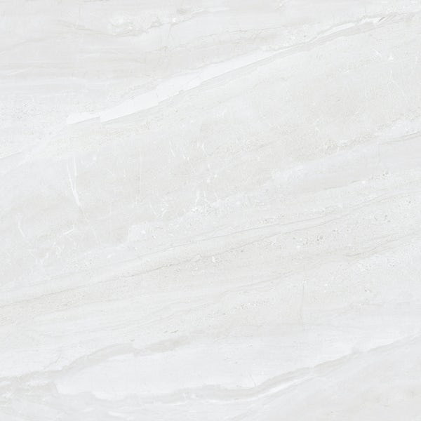 Comet light grey marble effect gloss wall and floor tile 600mm x 600mm