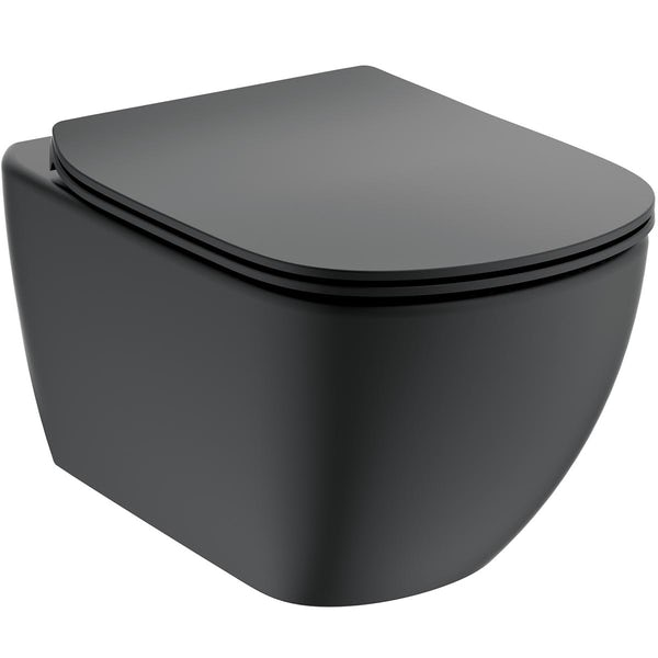 Ideal Standard silk black wall hung toilet with soft close seat, Oleas M1 flush plate & accessories