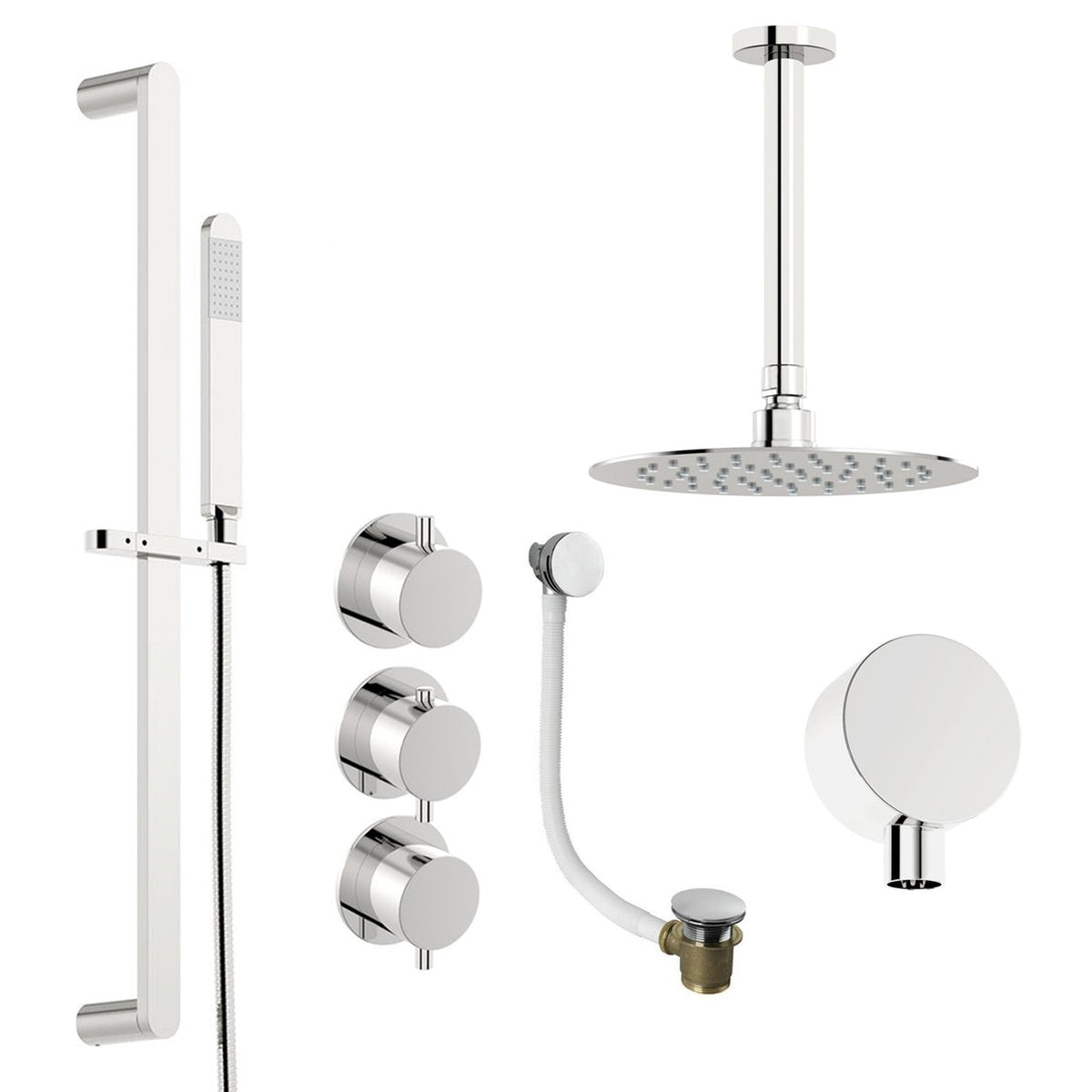 Round 250mm Cool To Touch Shower Kit With Handheld: Mode Hardy Thermostatic Shower Valve With Complete Ceiling