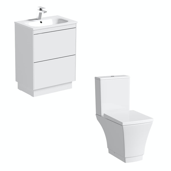 Mode Austin close coupled toilet and white vanity unit suite 600mm