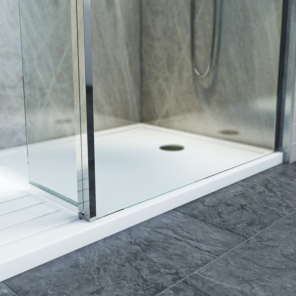 Mode 8mm walk in right handed shower enclosure pack with hinged return panel and walk in right handed shower tray