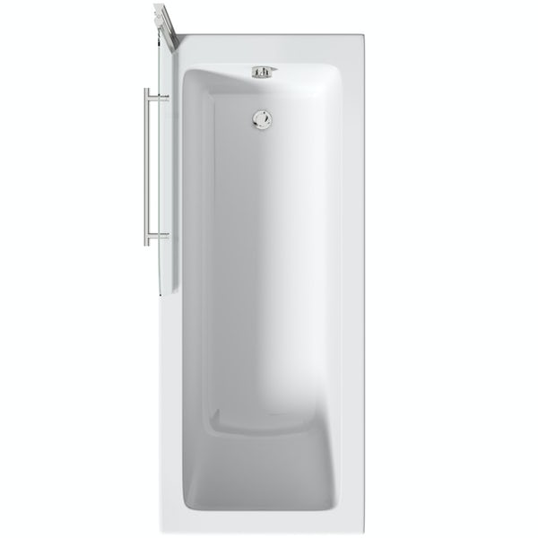 Orchard square edge straight shower bath with 6mm shower screen and rail