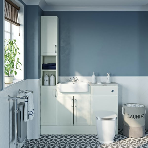 The Bath Co. Newbury white tall fitted furniture combination with pebble grey worktop