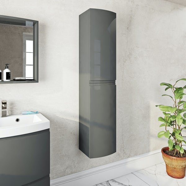 Mode Harrison slate gloss grey wall hung cabinet 1400 x 300mm