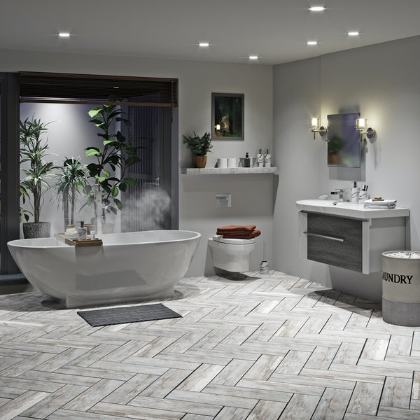 Mode Burton ice stone freestanding bath suite 1800 x 800